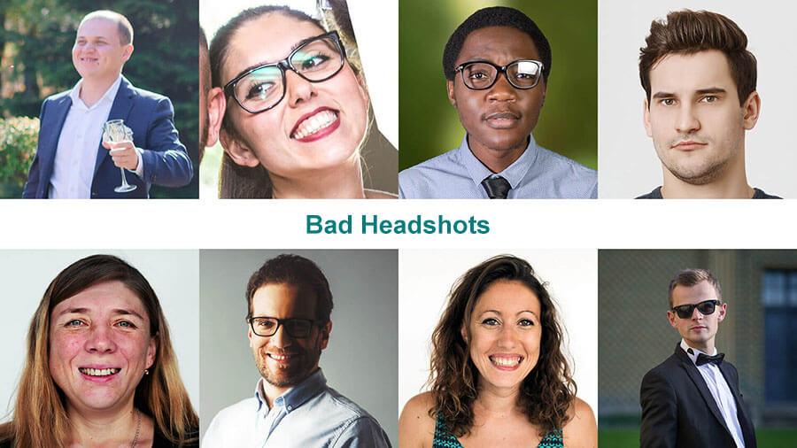 Examples of bad headshots
